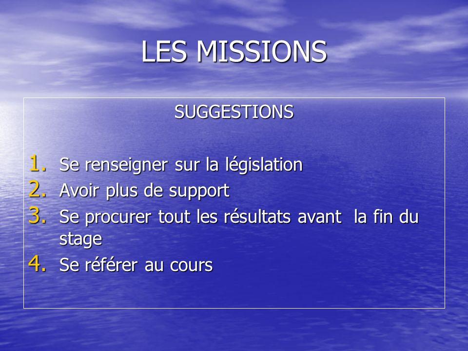 LES MISSIONS SUGGESTIONS Se renseigner sur la législation