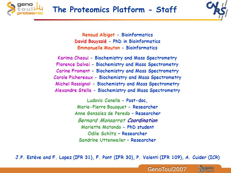 The Proteomics Platform - Staff