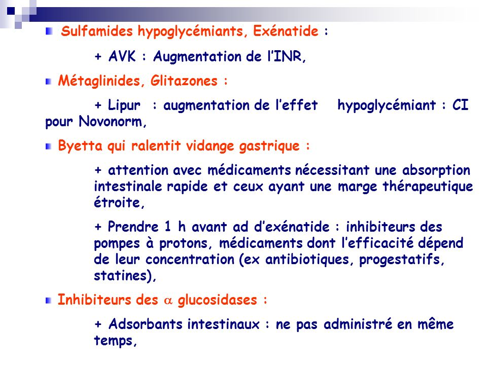 Sulfamides hypoglycémiants, Exénatide :