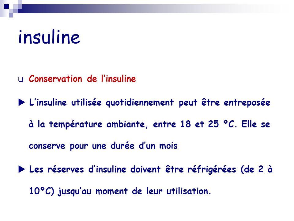 insuline Conservation de l'insuline