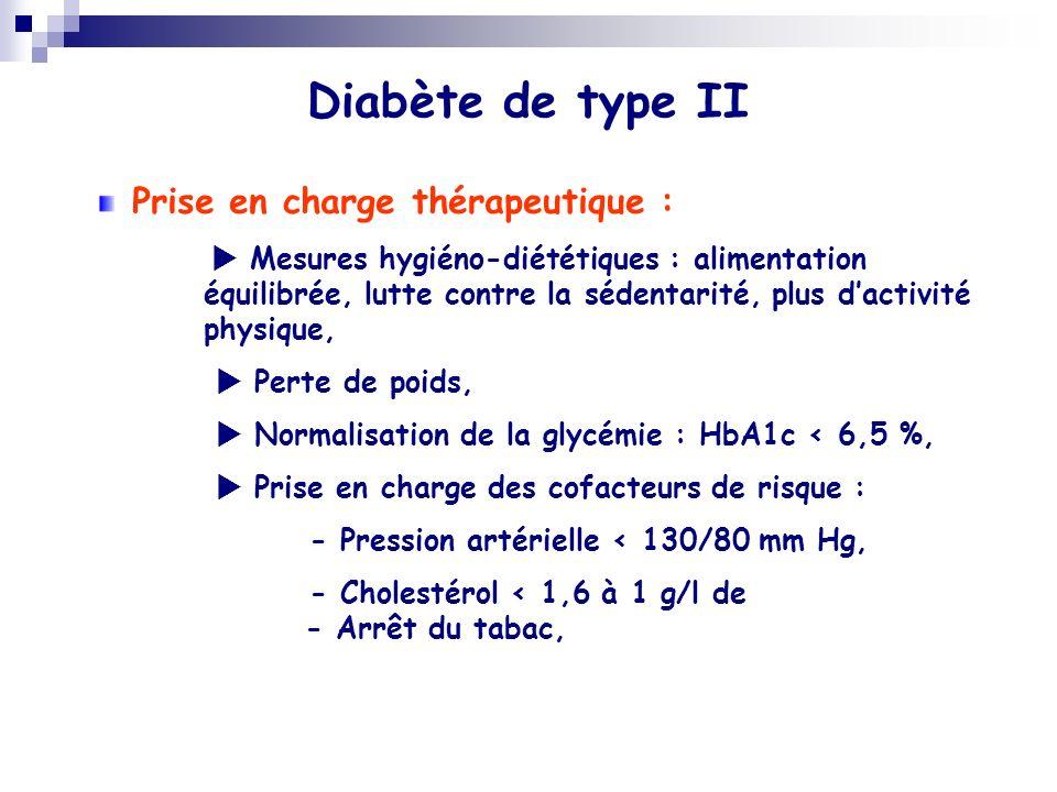 Diabète de type II Prise en charge thérapeutique :  Perte de poids,