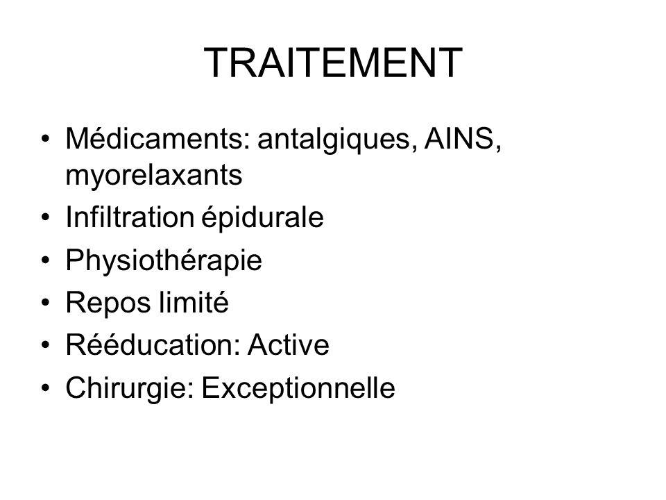 TRAITEMENT Médicaments: antalgiques, AINS, myorelaxants