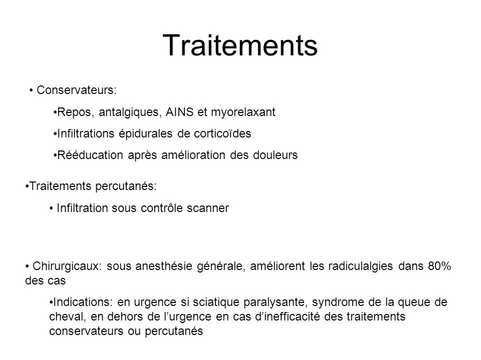 Traitements Conservateurs: Repos, antalgiques, AINS et myorelaxant