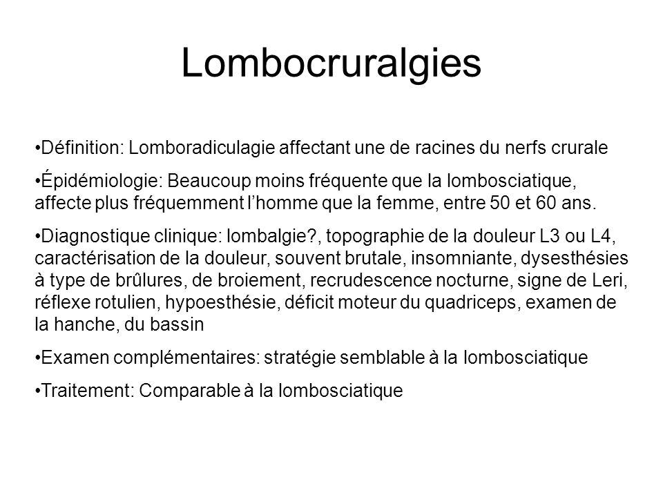 Lombocruralgies Définition: Lomboradiculagie affectant une de racines du nerfs crurale.