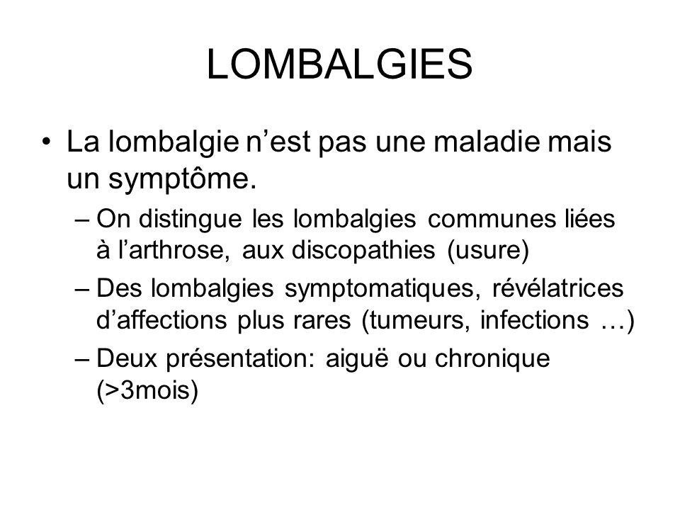 LOMBALGIES La lombalgie n'est pas une maladie mais un symptôme.