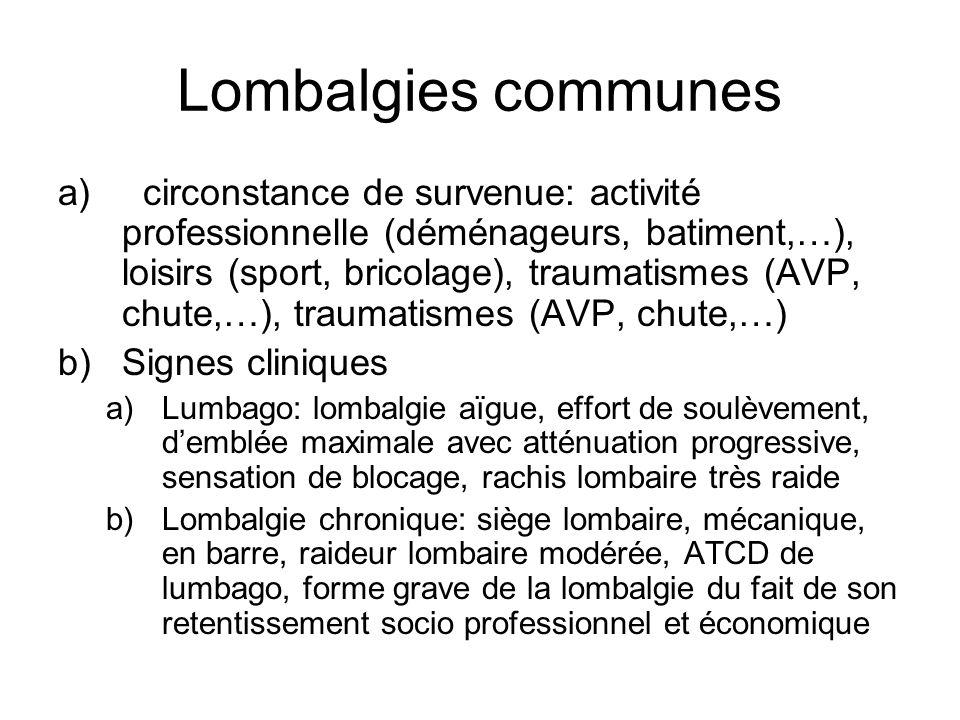 Lombalgies communes