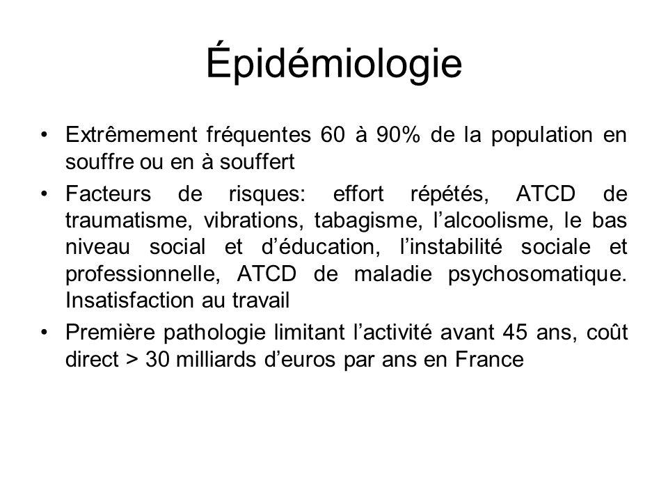 Épidémiologie Extrêmement fréquentes 60 à 90% de la population en souffre ou en à souffert.