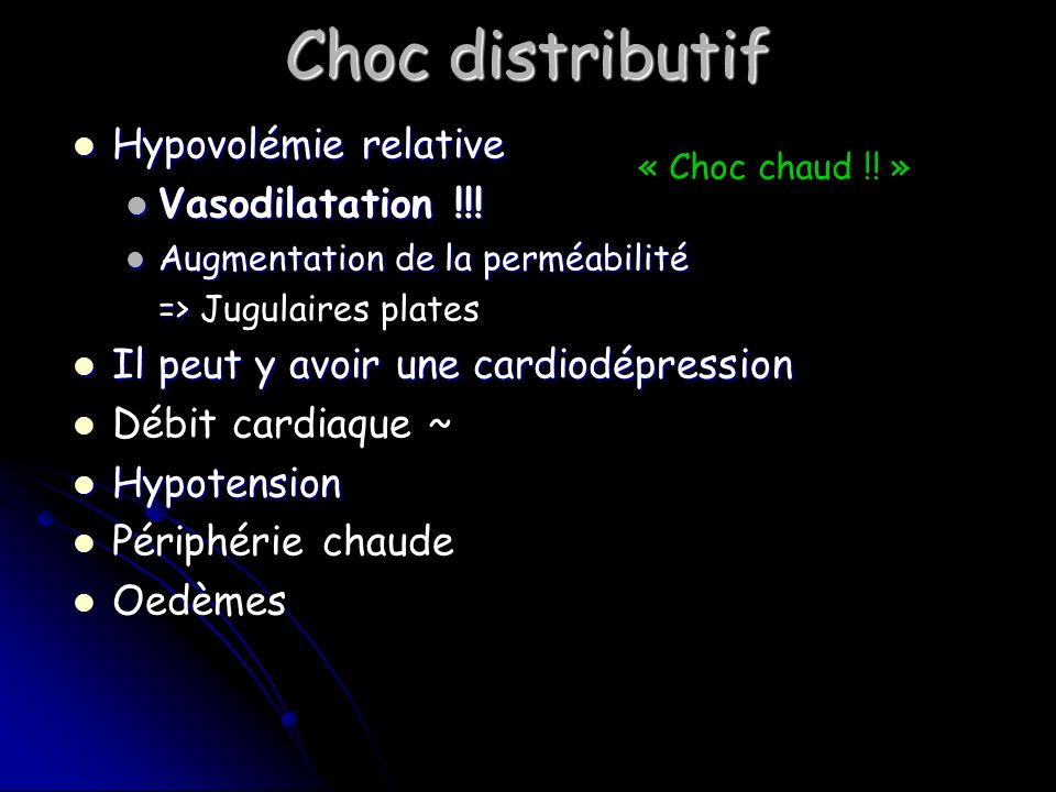 Choc distributif Hypovolémie relative Vasodilatation !!!