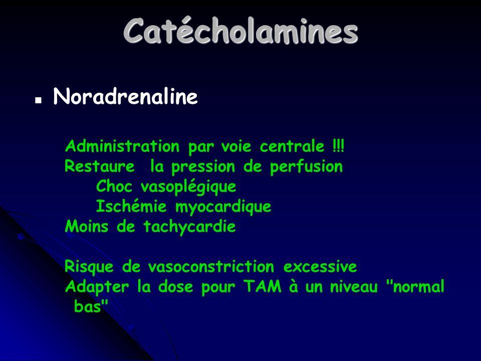 Catécholamines Noradrenaline Administration par voie centrale !!!