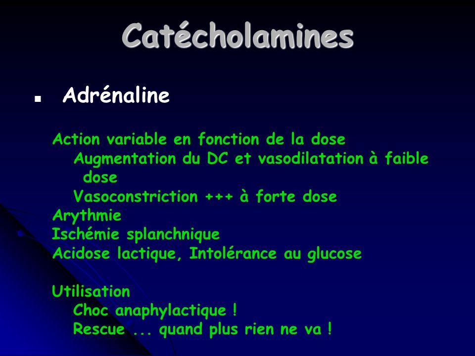 Catécholamines Adrénaline Action variable en fonction de la dose
