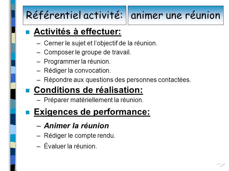 Référentiel activité:
