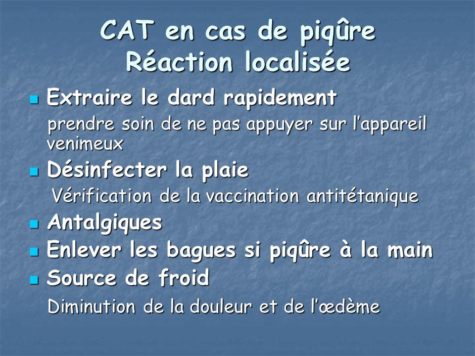 CAT en cas de piqûre Réaction localisée