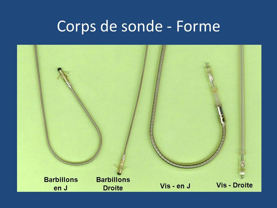 Corps de sonde - Forme Barbillons en J Barbillons Droite Vis - en J