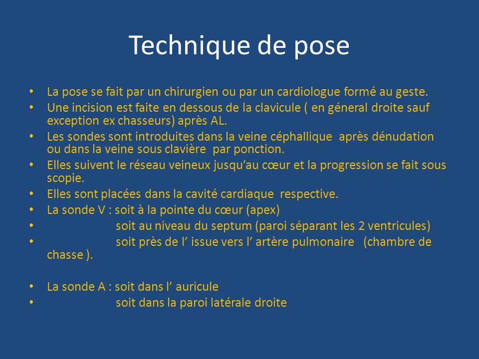 Pace maker et defibrillateur implantable ppt video - Pose de chambre implantable technique ...