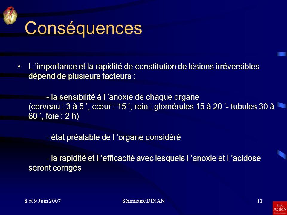 Conséquences L 'importance et la rapidité de constitution de lésions irréversibles dépend de plusieurs facteurs :