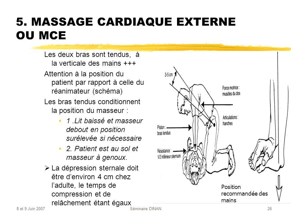 5. MASSAGE CARDIAQUE EXTERNE OU MCE