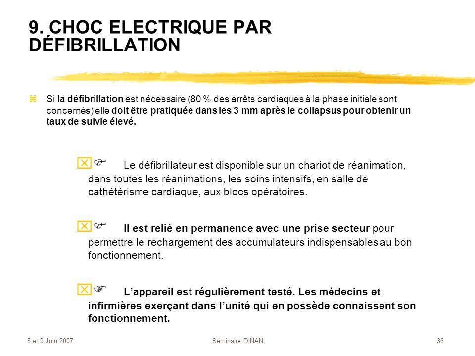 9. CHOC ELECTRIQUE PAR DÉFIBRILLATION