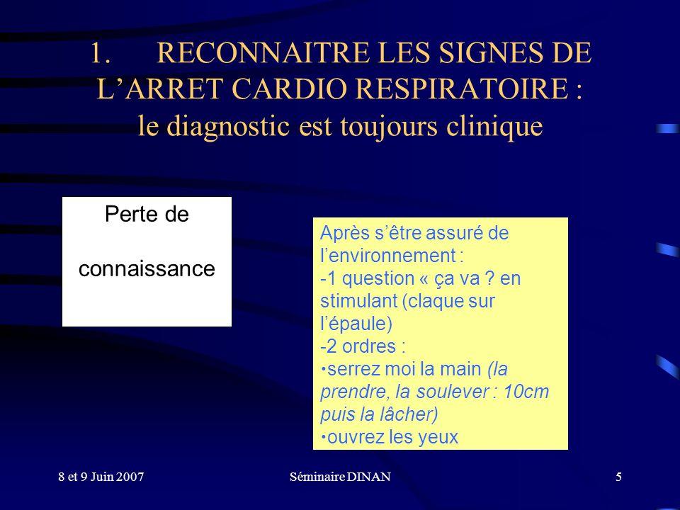 1. RECONNAITRE LES SIGNES DE L'ARRET CARDIO RESPIRATOIRE : le diagnostic est toujours clinique