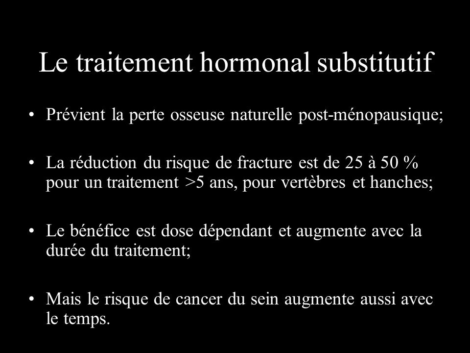 Le traitement hormonal substitutif
