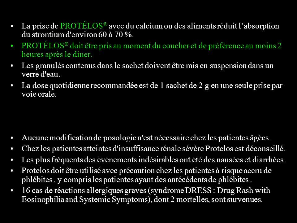 La prise de PROTÉLOS® avec du calcium ou des aliments réduit l'absorption du strontium d environ 60 à 70 %.