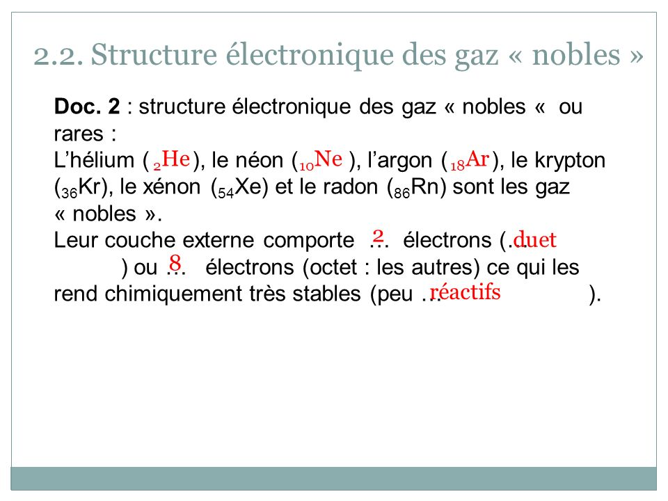 2.2. Structure électronique des gaz « nobles »