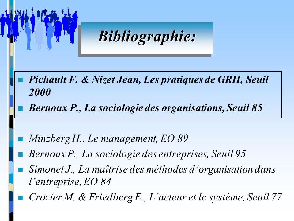 Bibliographie: Pichault F. & Nizet Jean, Les pratiques de GRH, Seuil 2000. Bernoux P., La sociologie des organisations, Seuil 85.