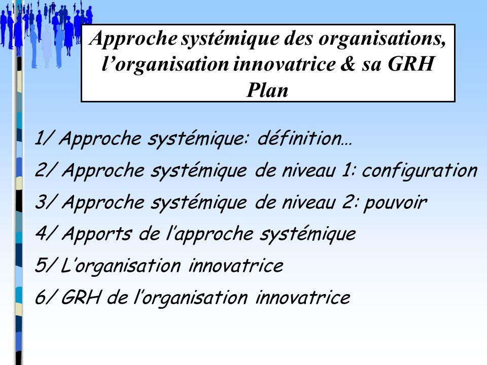 Approche systémique des organisations, l'organisation innovatrice & sa GRH Plan