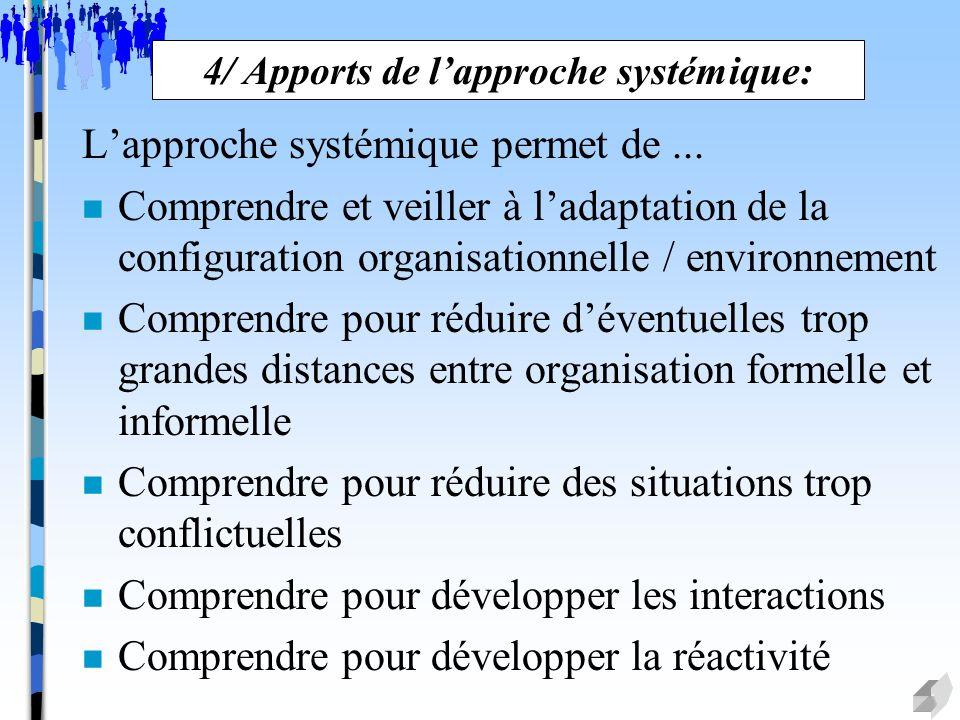 4/ Apports de l'approche systémique: