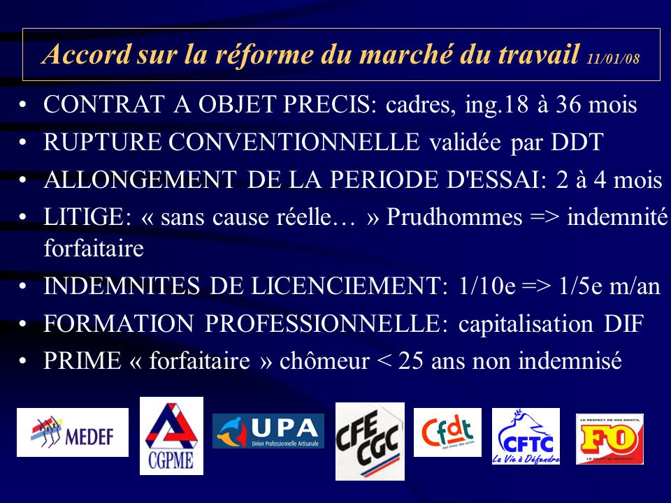 Accord sur la réforme du marché du travail 11/01/08