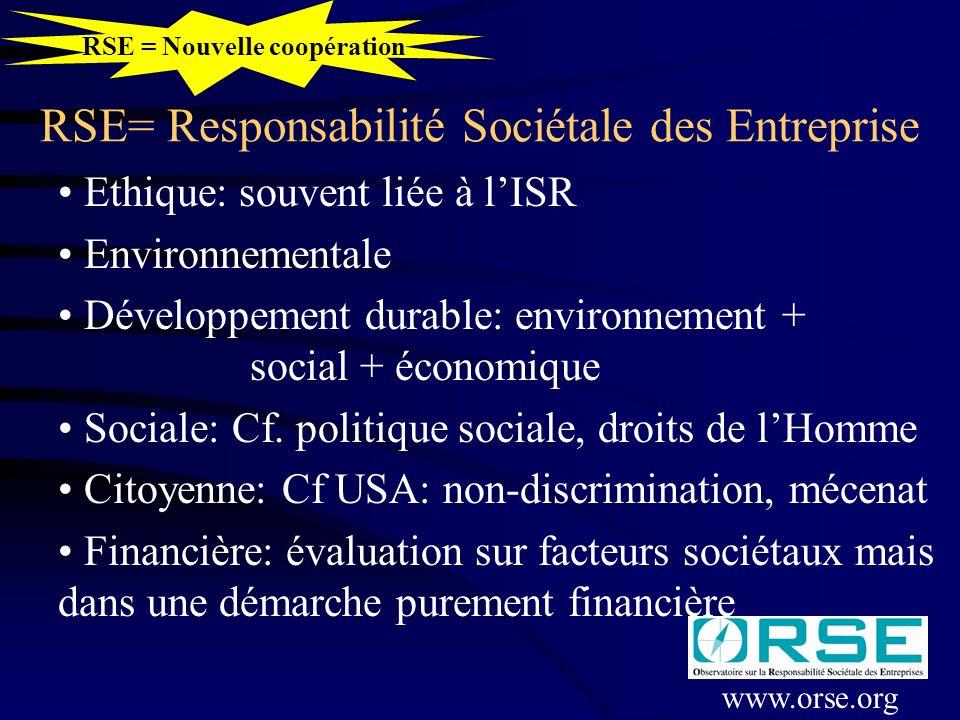 RSE= Responsabilité Sociétale des Entreprise