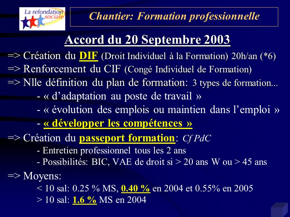 Chantier: Formation professionnelle