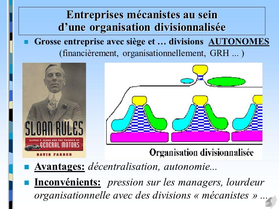 Entreprises mécanistes au sein d'une organisation divisionnalisée