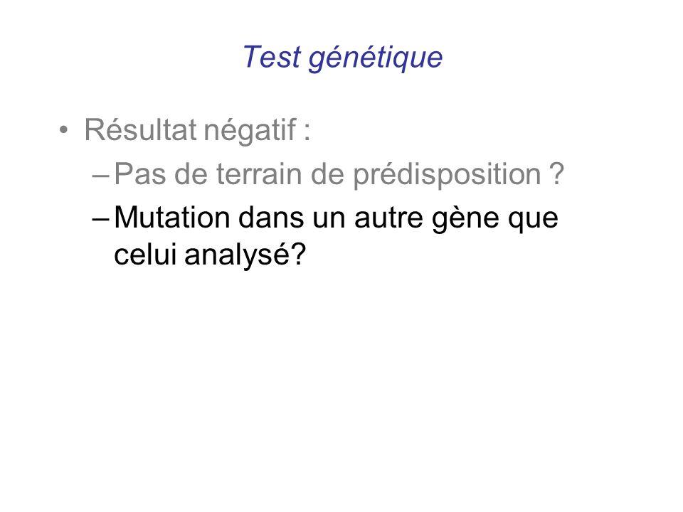Test génétique Résultat négatif : Pas de terrain de prédisposition .