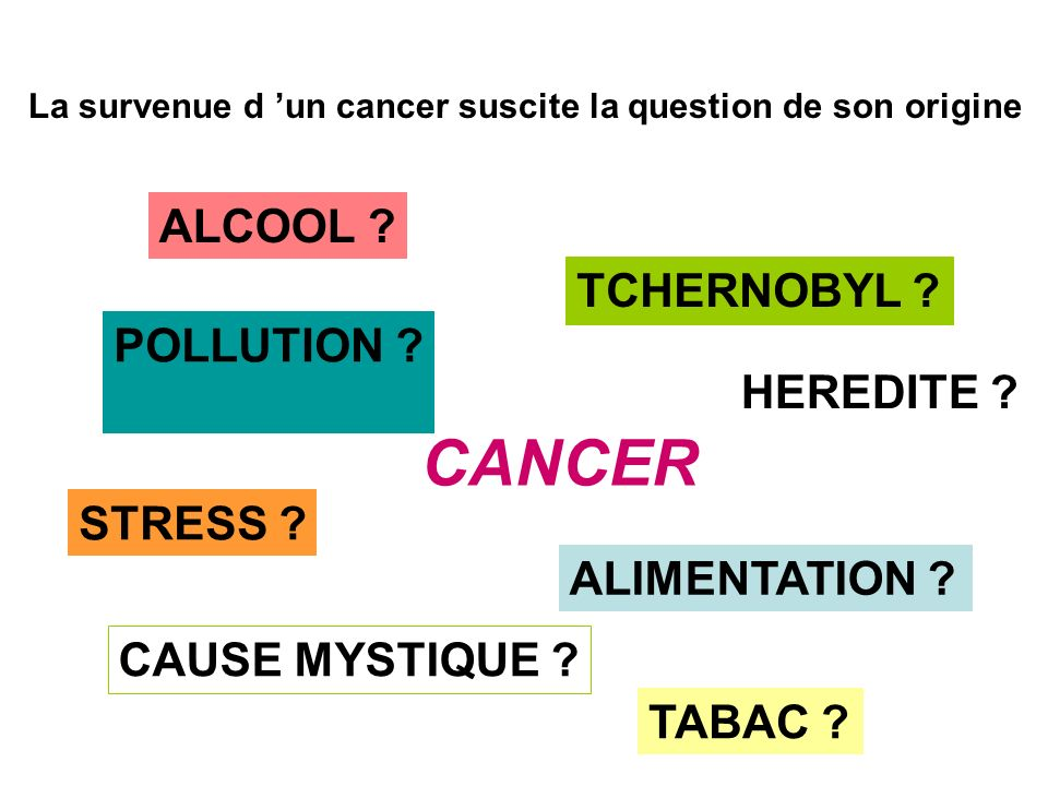 CANCER ALCOOL TCHERNOBYL POLLUTION HEREDITE STRESS