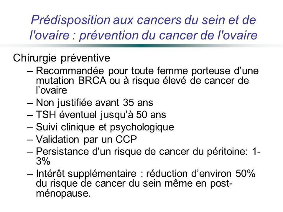 Prédisposition aux cancers du sein et de l ovaire : prévention du cancer de l ovaire