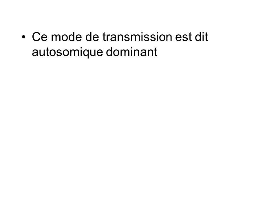 Ce mode de transmission est dit autosomique dominant