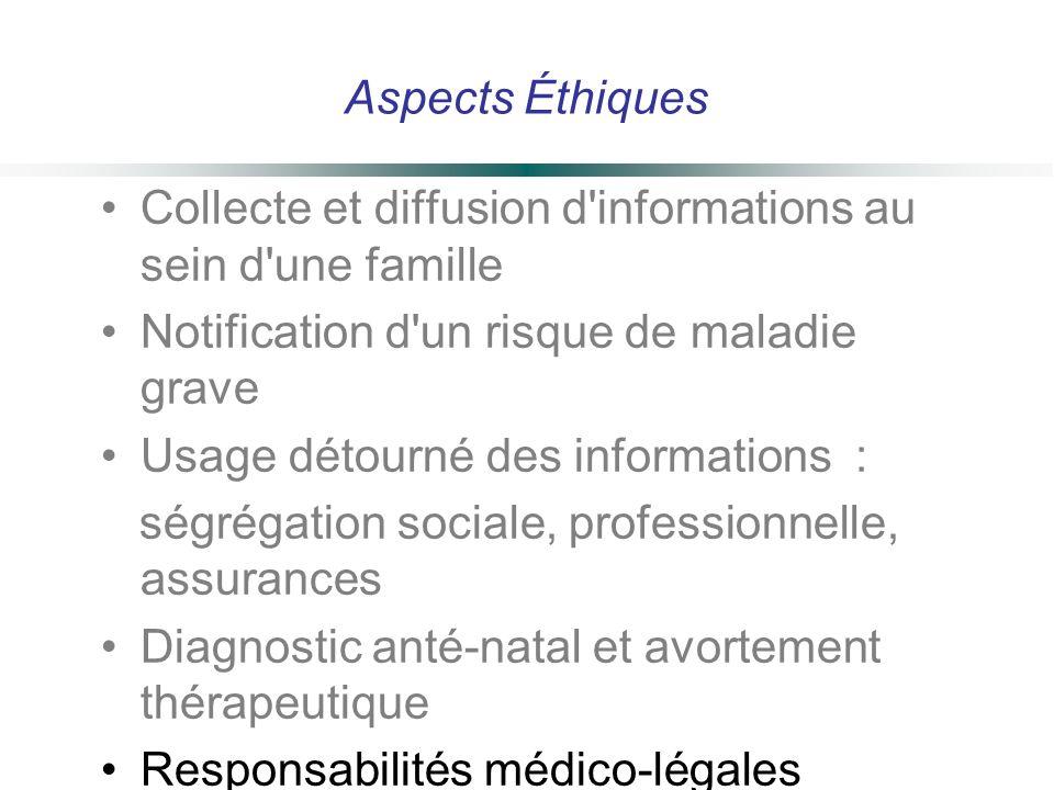 Aspects Éthiques Collecte et diffusion d informations au sein d une famille. Notification d un risque de maladie grave.