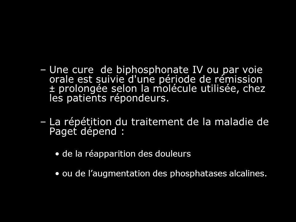 La répétition du traitement de la maladie de Paget dépend :