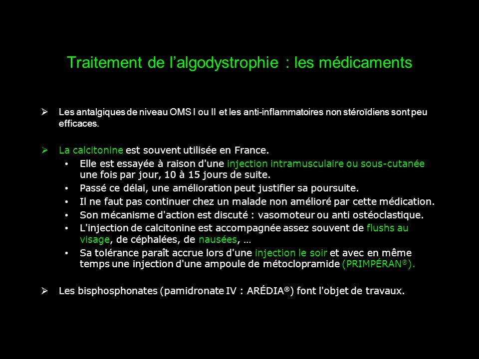 Traitement de l'algodystrophie : les médicaments