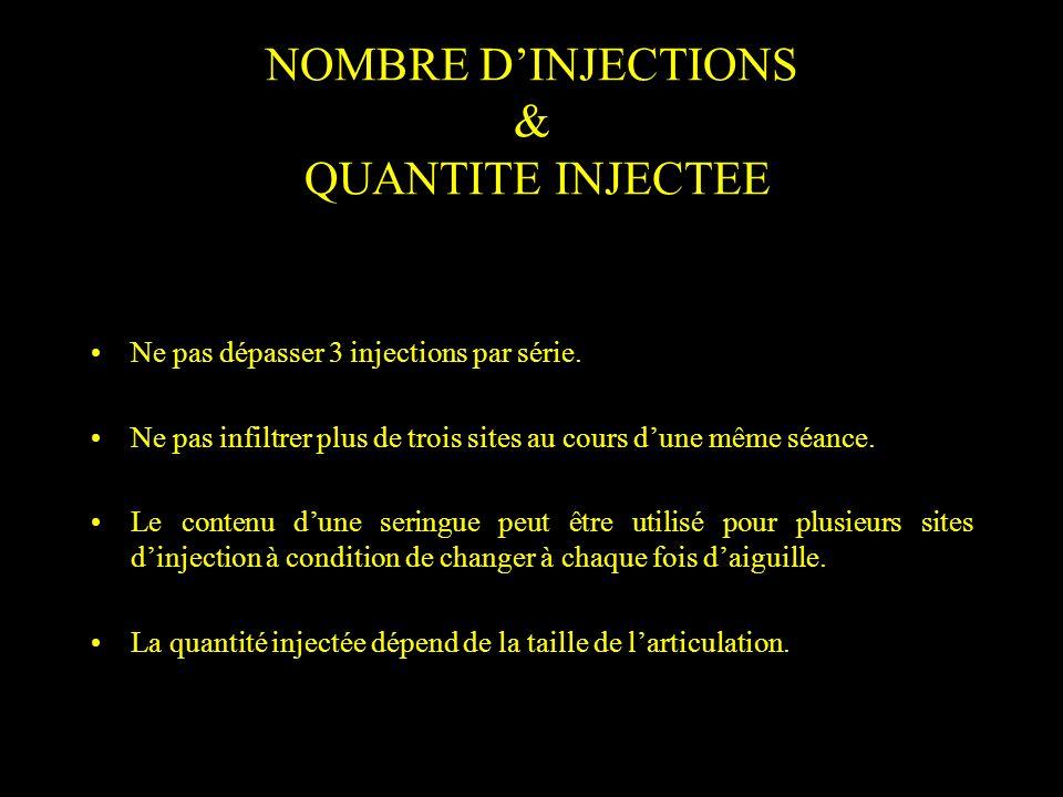 NOMBRE D'INJECTIONS & QUANTITE INJECTEE