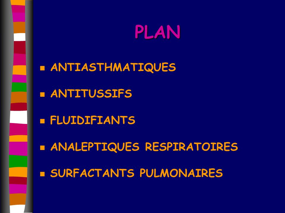 PLAN ANTIASTHMATIQUES ANTITUSSIFS FLUIDIFIANTS