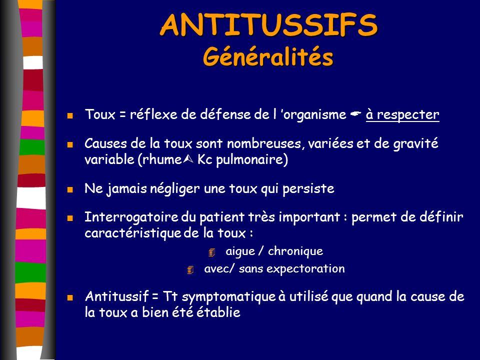 ANTITUSSIFS Généralités