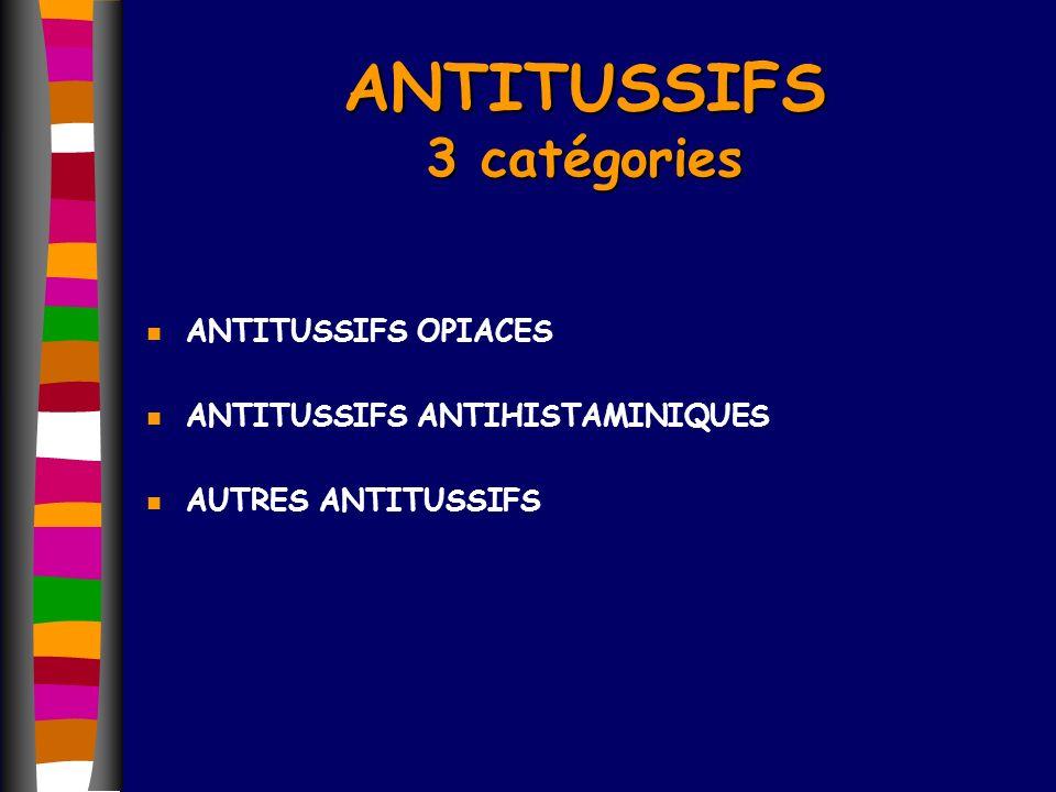 ANTITUSSIFS 3 catégories