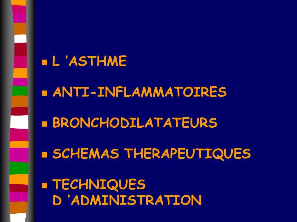 L 'ASTHME ANTI-INFLAMMATOIRES. BRONCHODILATATEURS.