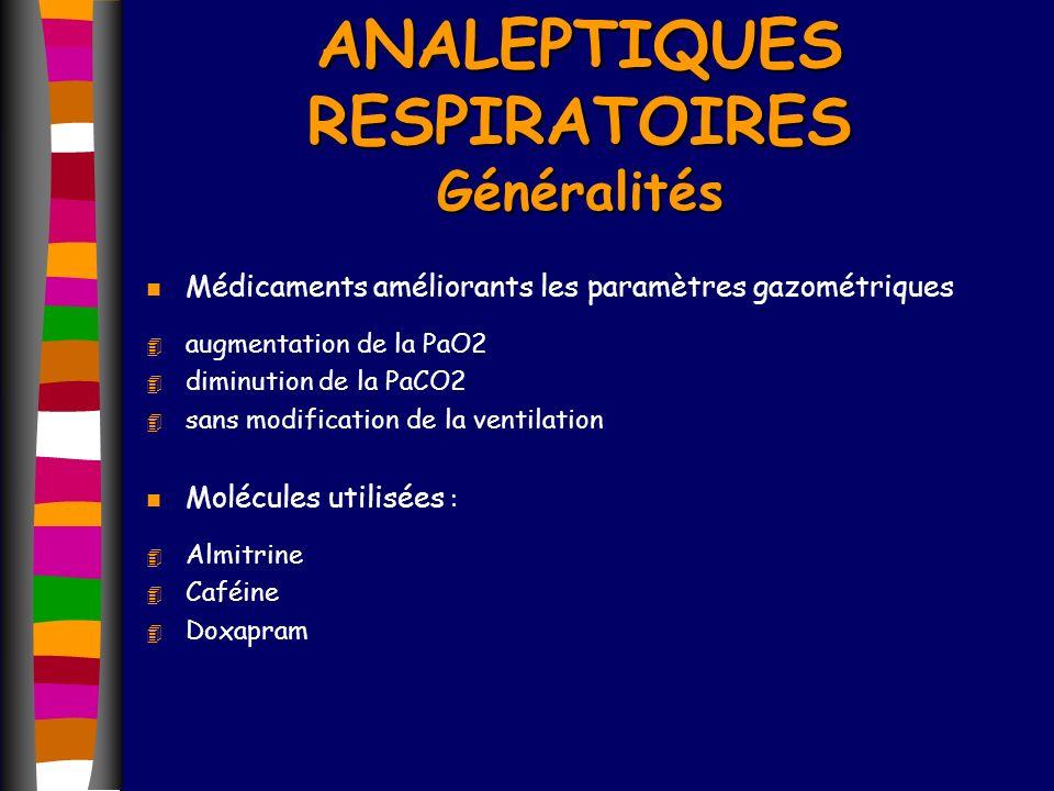 ANALEPTIQUES RESPIRATOIRES Généralités