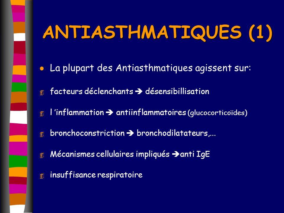 ANTIASTHMATIQUES (1) La plupart des Antiasthmatiques agissent sur: