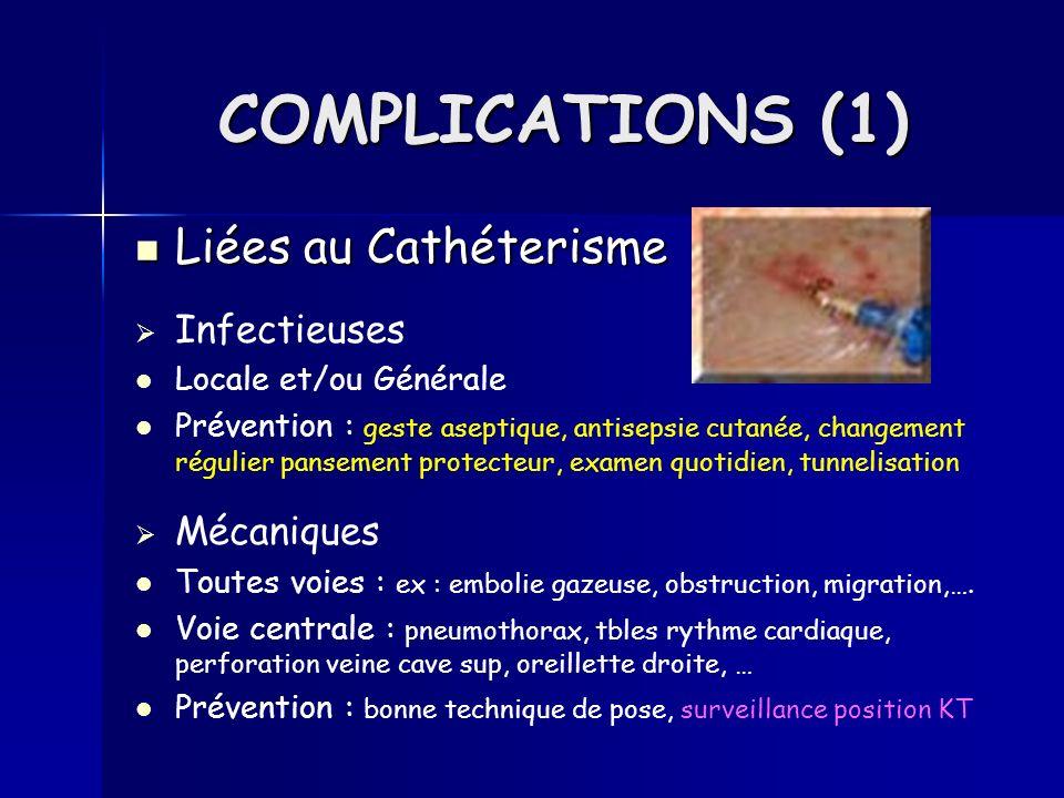 COMPLICATIONS (1) Liées au Cathéterisme Infectieuses Mécaniques