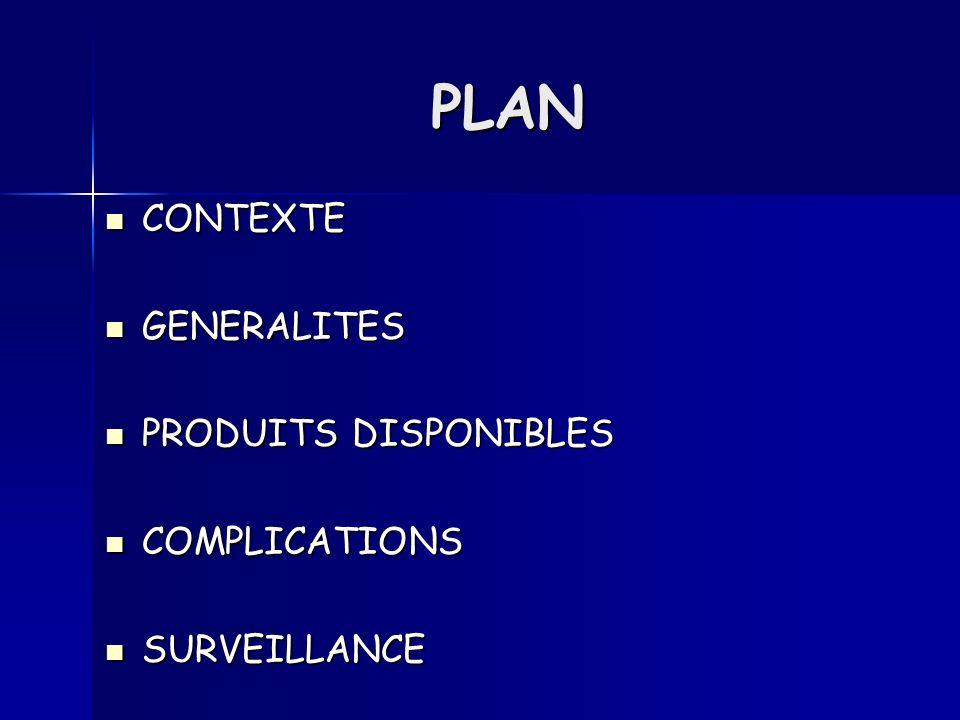 PLAN CONTEXTE GENERALITES PRODUITS DISPONIBLES COMPLICATIONS