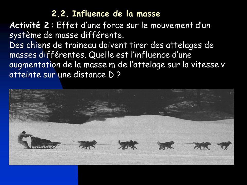 2.2. Influence de la masse Activité 2 : Effet d'une force sur le mouvement d'un système de masse différente.