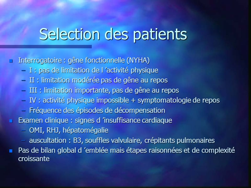 Selection des patients